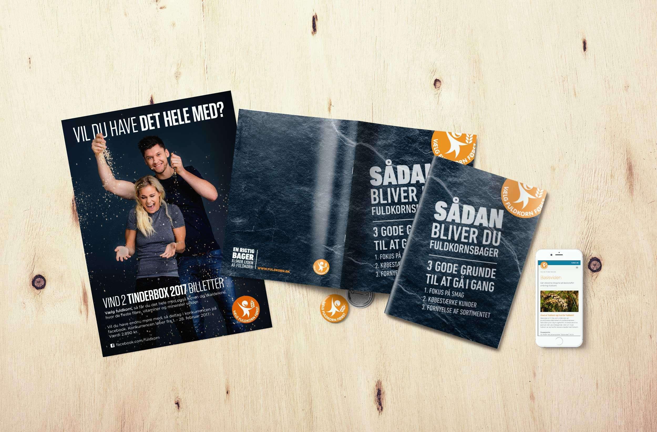 Fuldkornspartnerskabet, poster, brochure and mobile website