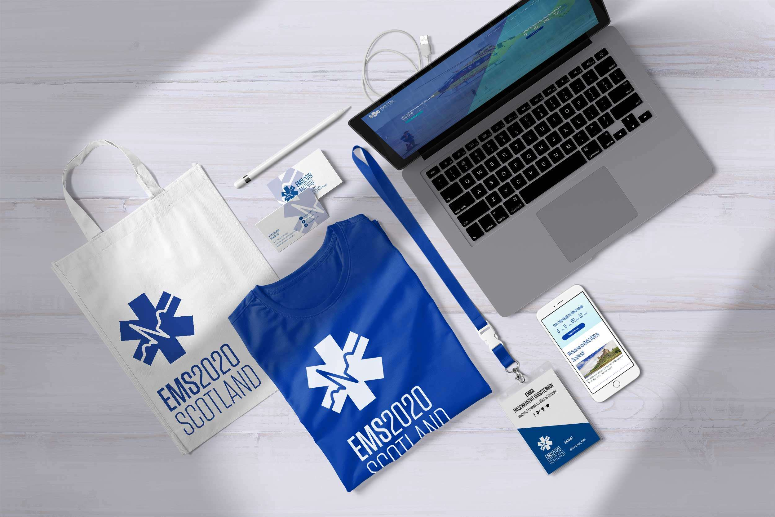 T-shirt, bags, ID Badge, for EMS Europe and their website on Macbook and iPhone