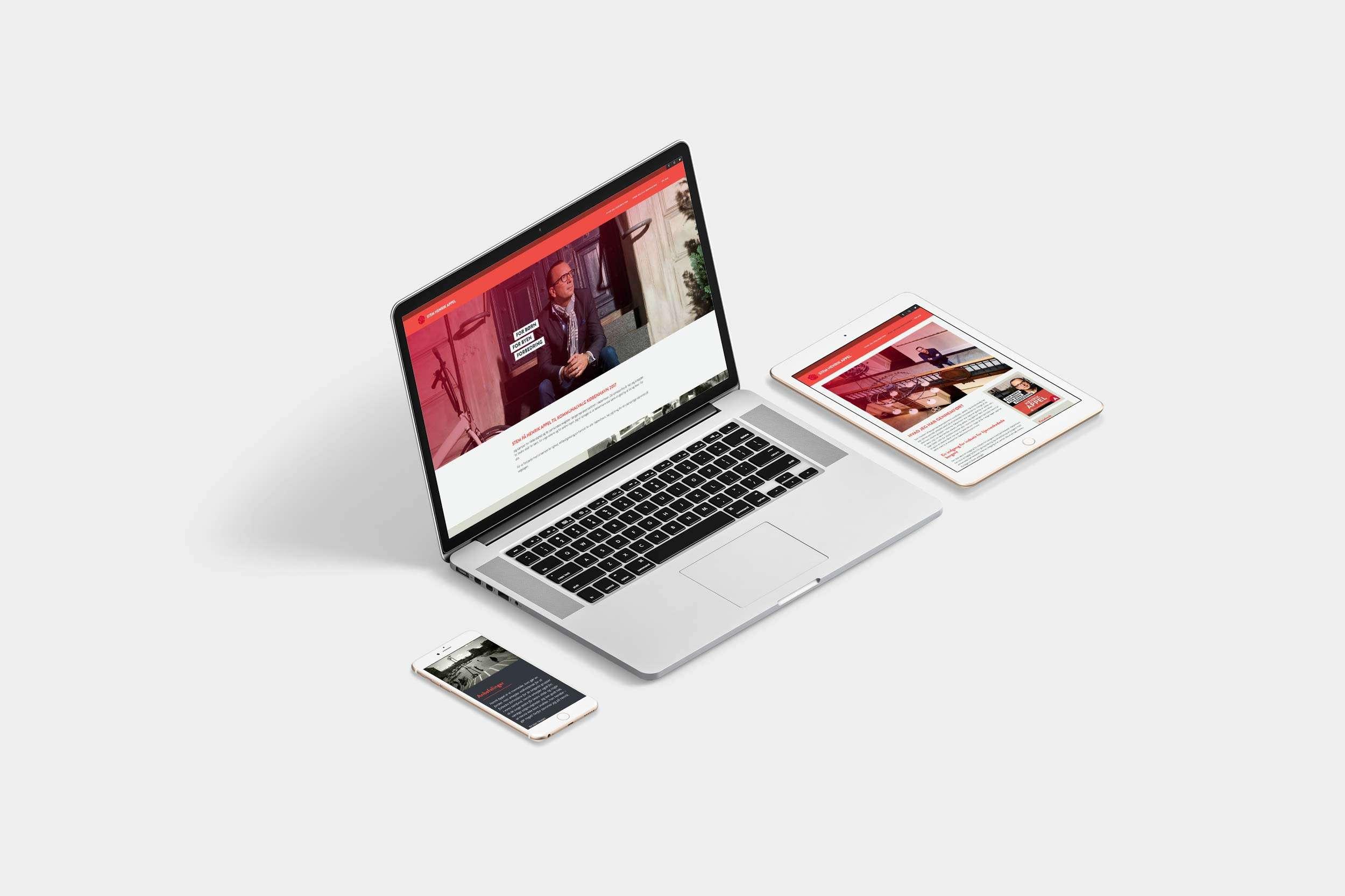 Stem Henrik Appel, laptop, ipad and iphone
