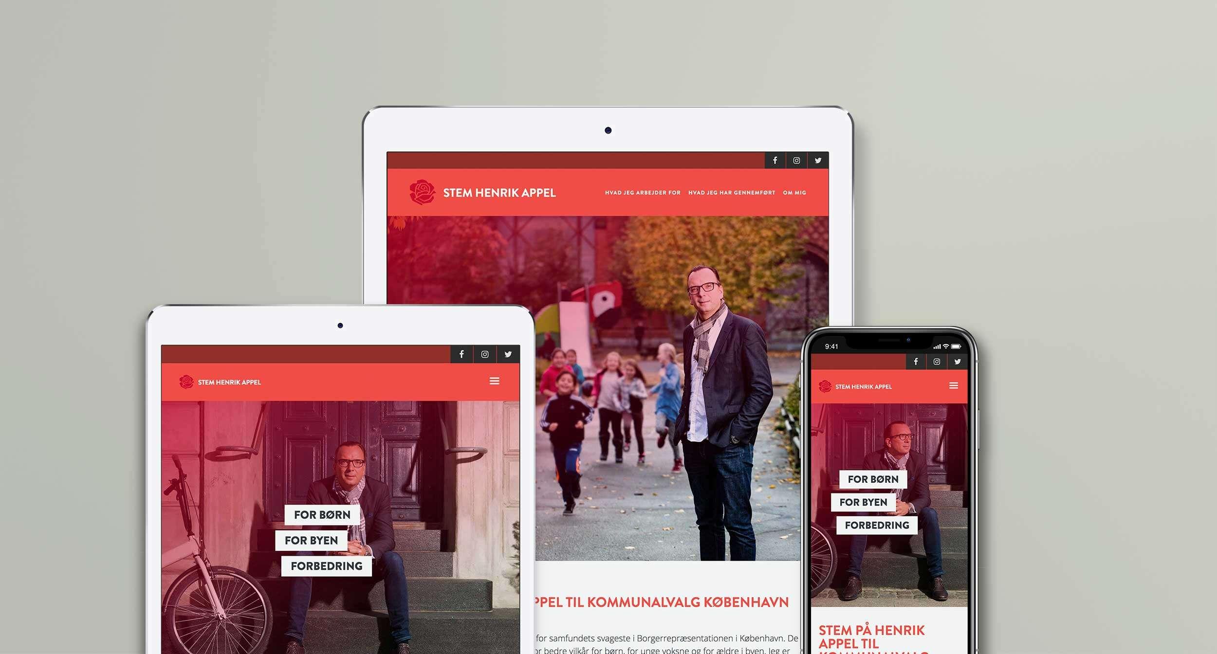 Stem Henrik Appel website on iPad Pro, Ipad and iPhone