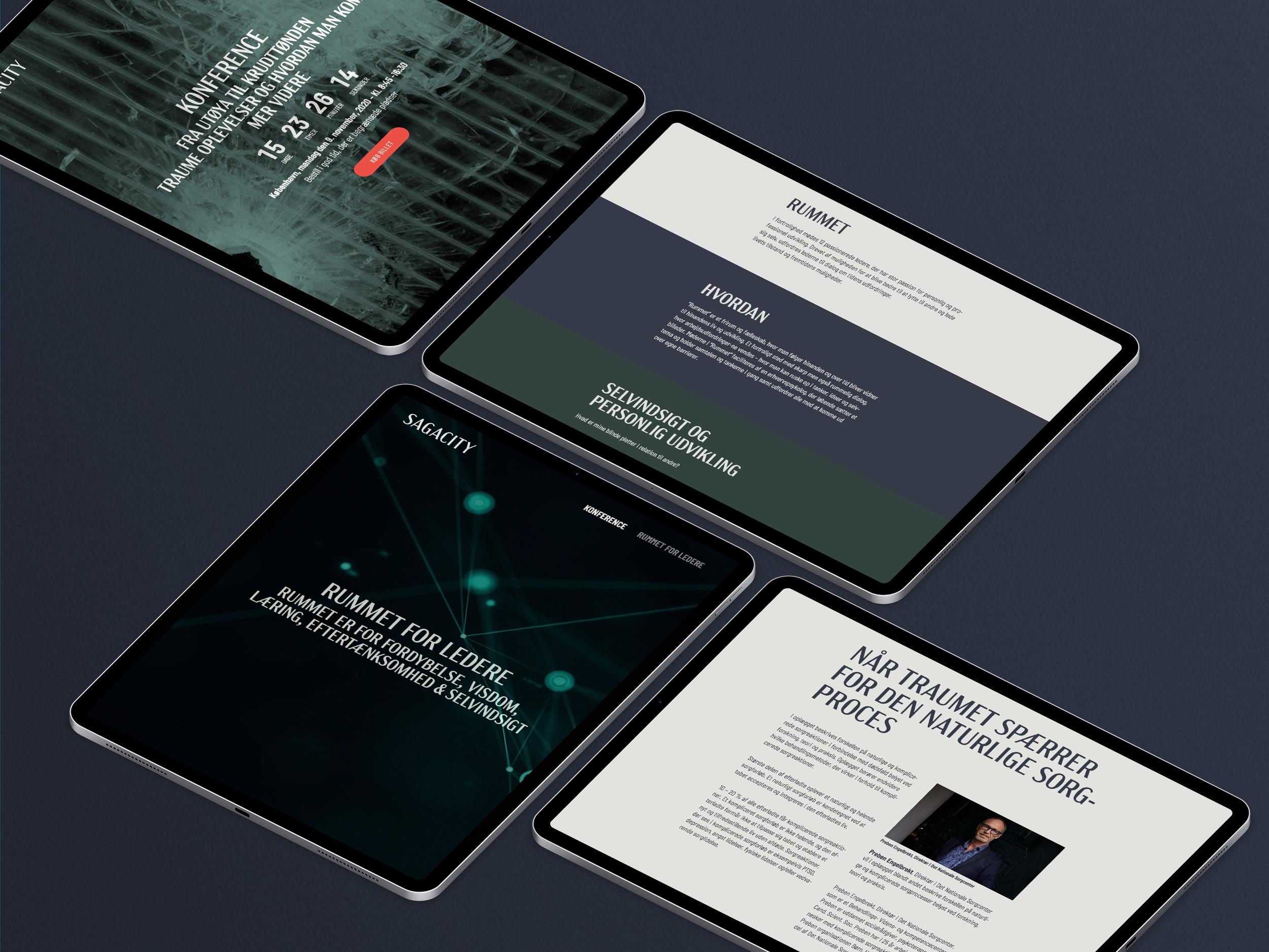 Sagacity website pages shown on four iPad Pro. tablets