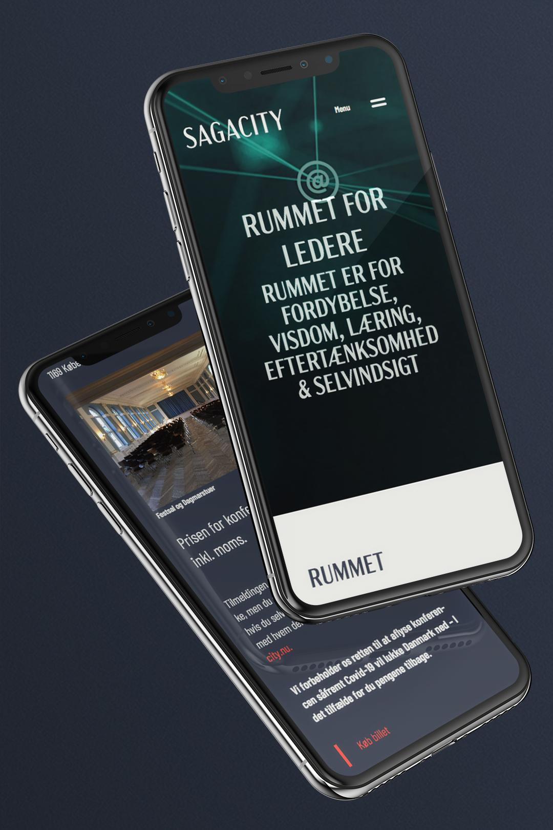 Sagacity website hero element with video on an iPhone X