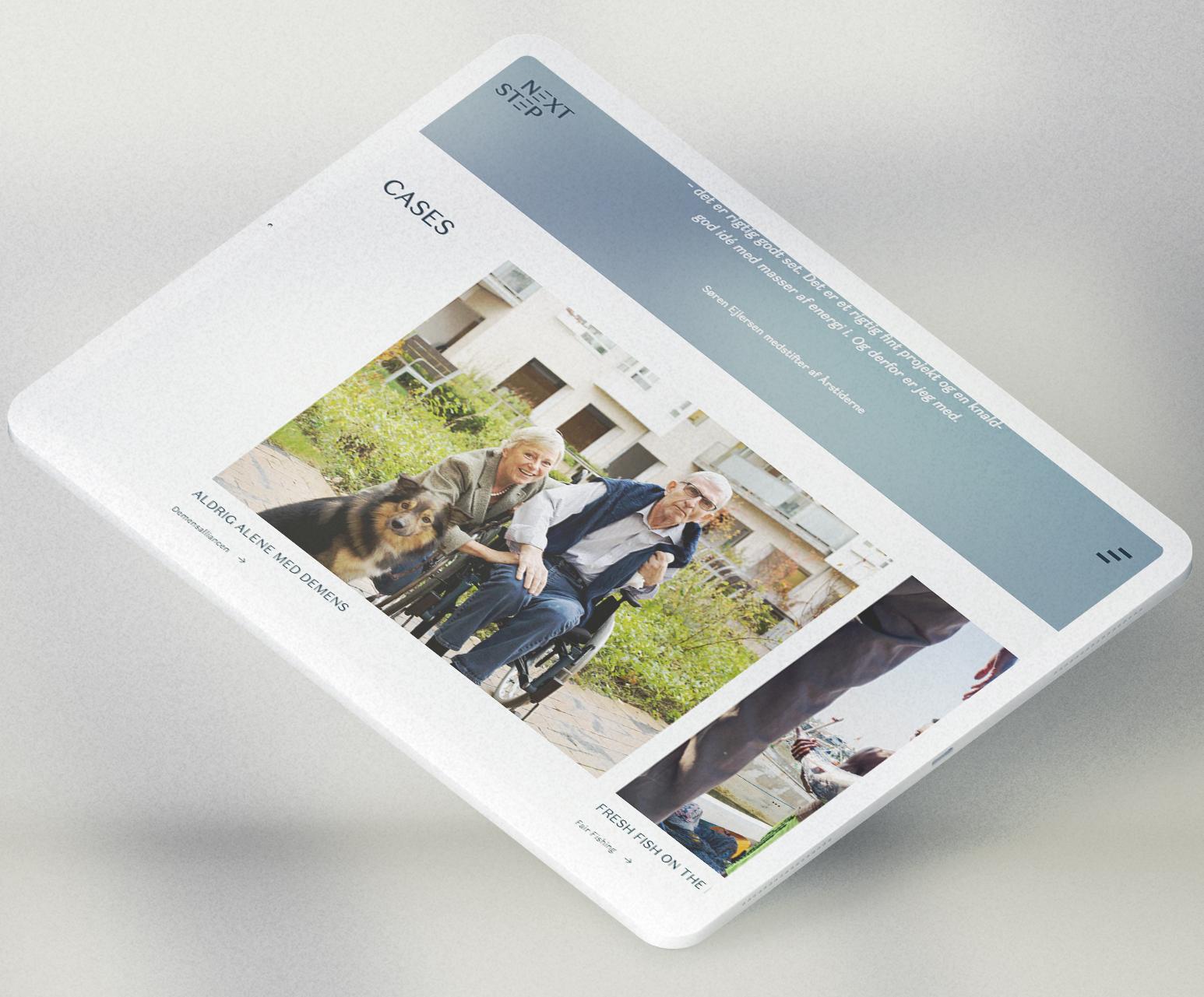 Nextstep website on an iPad Pro.
