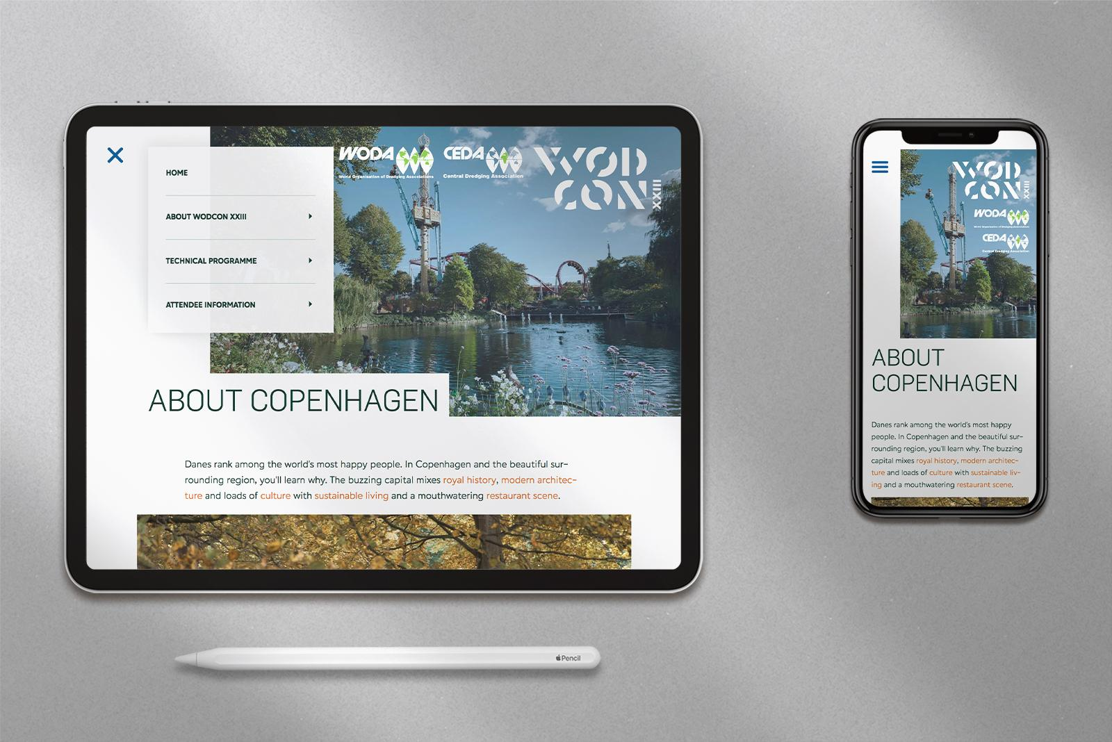 WODCON XXIII conference website shown on iPhone and a iPad Pro. 10.5 inch