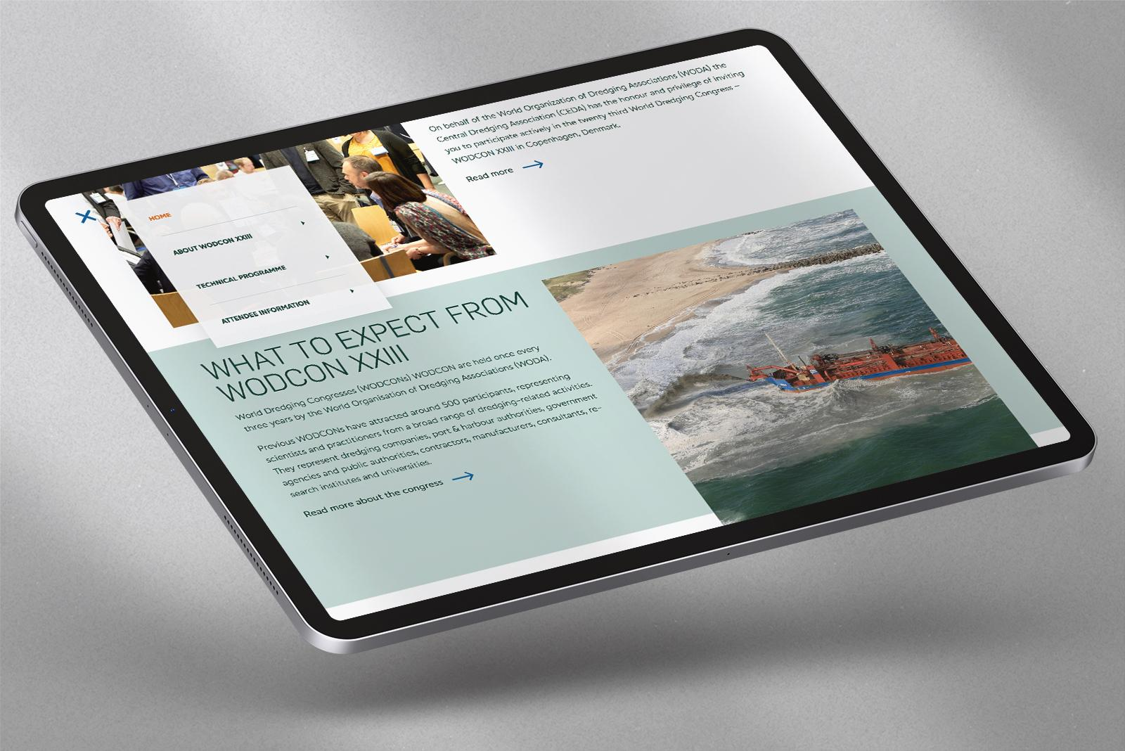 Fixed navigation shown on an iPad Pro.